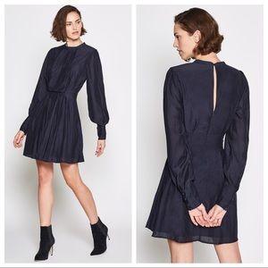 Joie Dark Blue Long Sleeve Pleat Swing Dress Sz 4